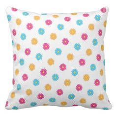 Polka Dot Flowers Throw Pillow - flower gifts floral flowers diy