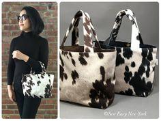 image 0 Cowhide Fabric, Cowhide Purse, Cowhide Leather, Eco Friendly Bags, Cow Print, Black Canvas, Purses, Hyde, Faux Fur