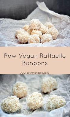 Recipe for raw vegan Raffaello Bonbons, with coconut and almonds. Delicious is an understatement! Can you believe they're ready in only 10 minutes?!   | gourmandelle.com | #coconut #truffles #raw