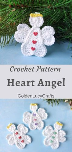 This crochet heart Angel will make a lovely Christmas ornament or Valentine's Day decoration; crochet applique, free crochet pattern, Christmas decor, DIY Christmas ornament, #crochet, #crochetpattern