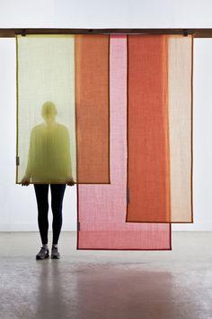 'Tinctorial Textiles' designed by Dutch fiber design studio Raw Color. Dyed curtain panels in semi translucent wool. via the design studio Fabric Panels, Panel Curtains, Curtain Panels, Wall Fabric, Textiles, Raw Color, London Design Festival, Color Blending, Visual Merchandising