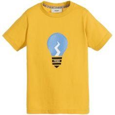 Fendi - Boys Yellow Cotton Jersey 'Lightbulb' T-Shirt | Childrensalon