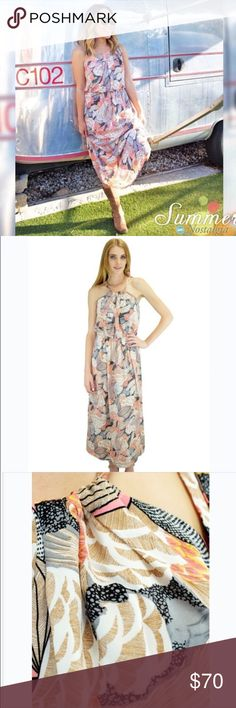Brand New! Relished Julia Maxi Dress This dress is 100% polyester and lightweight enough for hot summer days. The dress ties on one shoulder and has a gathered elastic waist. The colors included are tan, pink, navy, white, yellow, grey, and black which are all thrown in throughout the dress Relished Dresses Maxi
