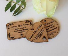 Wooden Save The Date Magnet Leaf Shape Rustic Wedding