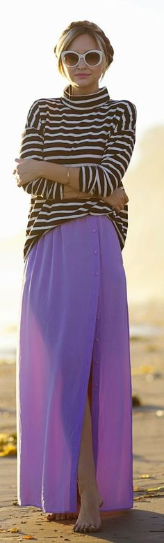 Lilac Side Button-up Floor Length Maxi Skirt by Late Afternoon