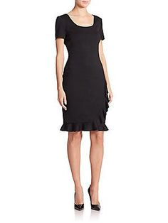 St. John Ruffle-Hem Sheath Dress - Caviar - Size 04