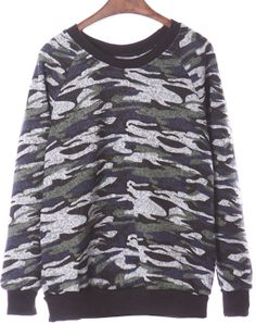 Grey Camouflage Long Sleeve Sweater EUR€18.36