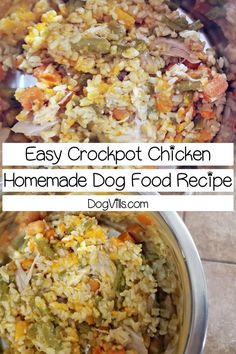 Looking for a homemade dog food recipe that doesn t take a ton of time to whip up Try this crockpot chicken dog meal with Video dogfoodhomemade dogfood dogfoodwet dognutrition dognutritiontips dognutritionguide # Food Dog, Make Dog Food, Best Dog Food, Puppy Food, Dog Treat Recipes, Dog Food Recipes, Chicken Recipes, Healthy Recipes, Recipe Chicken