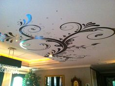 Wall decal on the Ceiling. #310 http://stickerbrand.com/products/vinyl-wall-decal-sticker-flower-floral-swirl-310