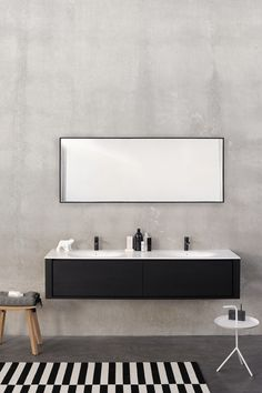Rectangular wall-mounted bathroom mirror QUALITIME BLACK | Bathroom mirror…