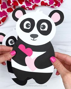 This adorable panda craft is a fun and simple activity that's perfect for Valentine's Day! Download the free printable template and make it with preschool, kindergarten, and elementary children. It's great for either home or school Valentine's Day Crafts For Kids, Animal Crafts For Kids, Toddler Crafts, Art For Kids, Craft Kids, Classroom Crafts, Preschool Crafts, Fun Crafts, Preschool Kindergarten
