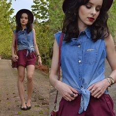 Get this look: http://lb.nu/look/7788840  More looks by Diana Schneider: http://lb.nu/elainspira  Items in this look:  Gdoky Jeans Denim Top, Melissa Flats   #casual #retro #romantic #simple #hat #burgundy #comfy #melissa #gdoky
