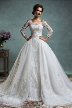 Unique Mermaid Vintage Lace Long Sleeve Wedding Dress With Detachable Skirt Jacket