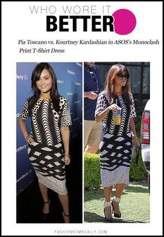 Who Wore It Better? Pia Toscano vs. Kourtney Kardashian in ASOS's Monoclash Print T-Shirt Dress