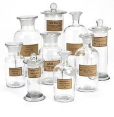 Apothecary jars with antiquated labels