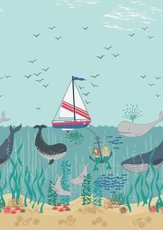 Hey, I found this really awesome Etsy listing at https://www.etsy.com/listing/398634987/fabric-tales-of-the-sea-sailboat-ocean