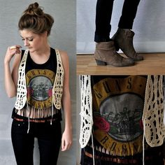 This outfit is perfect -- guns n roses band tee with lace vest and boot -- booties