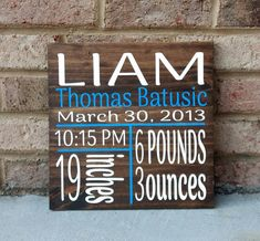 Birth Announcement Sign Hand Painted Personalized Birth