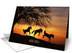 Horses jumping for joy congratulations card