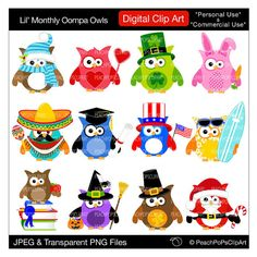 cute holiday owls clipart digital Christmas Easter Halloween -  Lil Monthly Oompa Owls - Digital Clip Art - Personal Commercial Use