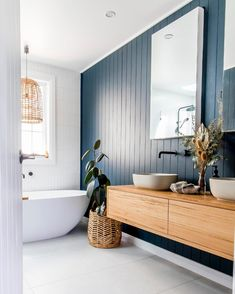 Stylish Solutions For Walls & Ceilings Bathroom Renos, Laundry In Bathroom, Small Bathroom, The Block Bathroom, Bathroom Feature Wall, Bathroom Ideas, Coastal Bathrooms, House And Home Magazine, Beautiful Bathrooms