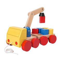 Ikea's toy department is getting pretty awesome. MULA Crane with blocks IKEA The trailer can be uncoupled. Crane/blocks with magnets for easy lifting and loading.