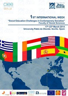 Póster de la I Semana Internacional 'Desafíos Socioeducativos en la Sociedad', organizada por la Facultad de Ciencias Sociales de la Universidad Pablo de Olavide