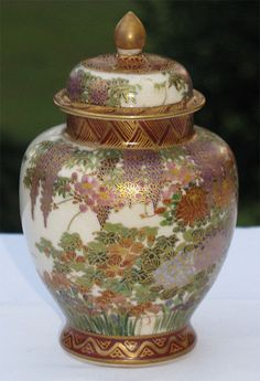 Japanese __Antique Authentic Japanese Satsuma porcelain vase with cover Japanese Porcelain, Japanese Ceramics, Japanese Pottery, Porcelain Ceramics, China Porcelain, Ceramic Art, Antique Vases, Vintage Vases, Satsuma Vase