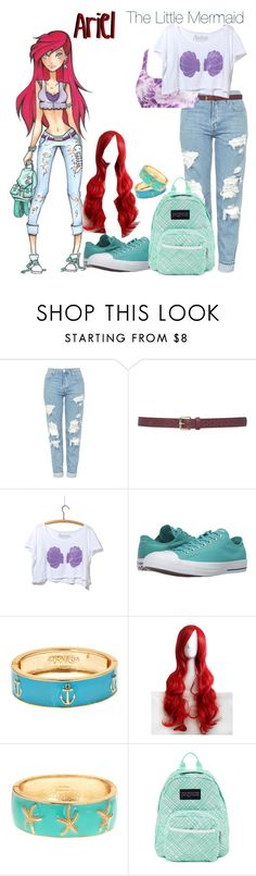 """""""The Little Mermaid"""" by ramirez-coimbra ❤ liked on Polyvore featuring Disney, Topshop, M&Co, Converse, Fornash and JanSport"""