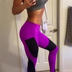 New Sexy Push Up Mesh Leggings For Women Elastic Patchwork Workout Legging Pants 2017 Fashion Ladies Fitness Leggings Leggins Yoga Leggings, Leggings Mode, Women's Sports Leggings, Leggings Are Not Pants, Workout Leggings, Workout Pants, Yoga Pants, Running Pants, Pink Workout