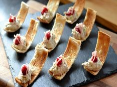 Nice serving idea: Danny Kingston serves up these pretty smoked mackerel canapés just in time for Christmas. These bites are all about balancing the rich smoked mackerel with light and sharp flavours of pickled ginger, cranberries and lime zest. Easy Canapes, Canapes Recipes, Pate Recipes, Appetizer Recipes, Cooking Recipes, Canapes Ideas, Finger Food Appetizers, Finger Foods, Mini Appetizers
