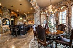 Tuscan design – Mediterranean Home Decor Elegant Kitchens, Luxury Kitchens, Beautiful Kitchens, Tuscan Kitchens, Contemporary Kitchens, Contemporary Bedroom, Kitchens With Fireplaces, Home Design, Stone Mansion