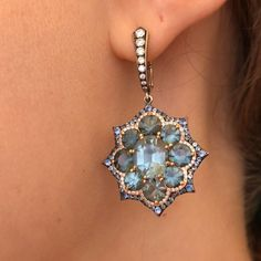 IVY New York. Blue Spinels from Mogok Burma in Sicily Italy in IVY Gold Earrings www.ivynewyork.com #spinelearrings #bluespinel