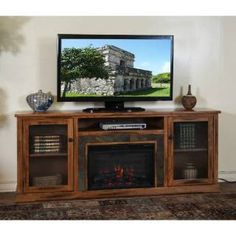 """Check out the Sunny Designs 3488RO-80R Sedona 80"""" Fireplace Media Console in Rustic Oak priced at $797.50 at Homeclick.com."""