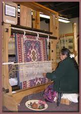 Helen Kirk Hubble weaving a rug on a large Navajo style loom Inkle Weaving, Weaving Tools, Navajo Weaving, Navajo Rugs, Native American Rugs, Indian Blankets, Indian Rugs, Southwest Art, Loom Knitting