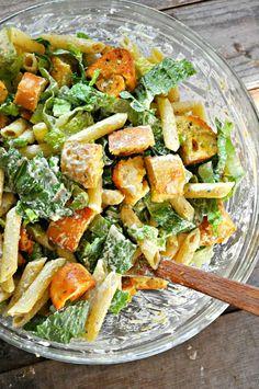 Vegan Caesar Pasta Salad - Rabbit and Wolves salad recipe Ceaser Salad Recipe, Salad Dressing, Barbacoa, Cesar Pasta Salad, Pesto, Vegetarian Recipes, Healthy Recipes, Arrows, Vegetarian