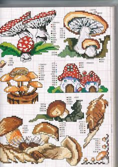 Free cross stitch sampler pattern for mushrooms Cross Stitch Pattern Maker, Counted Cross Stitch Patterns, Cross Stitch Charts, Cross Stitch Designs, Cross Stitch Embroidery, Cross Stitch Pillow, Cross Stitch Needles, Cross Stitch Samplers, Cross Stitching
