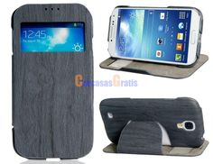 Wood Grain Stand Faux Leather Case for Samsung Galaxy S4/ I9500 (Grey)