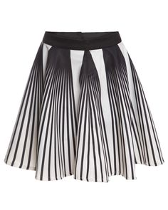Vertical Striped Flare White Skirt 17.33