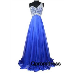 Beautiful one shoulder royal blue chiffon prom dress with sequins top, ball gown, prom dresses long