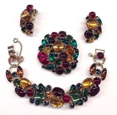 Vintage WEISS Red Green Gold Glass Cabochon Bracelet Brooch Earrings Parure Set #Weiss