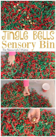 This Jingle Bell Sensory Bin is a fun Christmas activity for your kids.