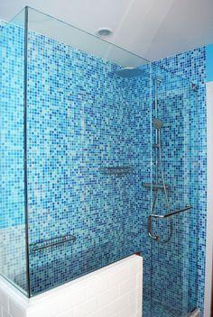 6 Joyous Clever Hacks: Shower Remodeling Tile Walk In inexpensive shower remodel.Shower Remodeling No Door shower remodel cost. Bathroom Floor Plans, Basement Bathroom, Bathroom Flooring, Small Bathroom, Bathroom Ideas, Paint Bathroom, Blue Mosaic, Mosaic Glass, Glass Tiles