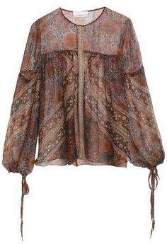 Chloé's featherweight blouse epitomizes the brand's feminine, bohemian spirit. This sheer silk-crepon style has a brown, burnt-orange and raspberry foulard print and wispy peasant sleeves - the drawstring ties emphasize their billowy shape beautifully. Batik Blazer, Blouse Batik, Batik Dress, Batik Fashion, Hijab Fashion, Fashion Dresses, Mode Batik, Batik Kebaya, Moda Boho