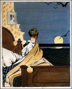 """""""Boy and Moon"""" huile sur toile d'Edward Hopper (1882-1967) peintre et graveur américain. Une grande partie de l'œuvre de Hopper exprime la nostalgie d'une Amérique passée, ainsi que le conflit entre nature et monde moderne. Ses personnages sont le plus souvent esseulés et mélancoliques."""