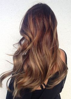 Brown ombre hair color, long balayage hairstyle trend of 2015 summer
