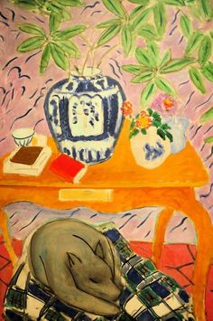 Henri Matisse - Interior with Dog. 1934 Baltimore Art Museum ive been there and this is an amaazzzzing painting! Henri Matisse, Matisse Dog, Matisse Kunst, Pablo Picasso, Maurice De Vlaminck, Matisse Paintings, Animal Paintings, Raoul Dufy, Plastic Art