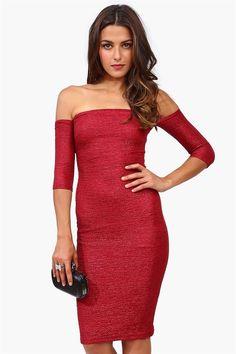 Shimmer Off The Shoulder Dress in Red