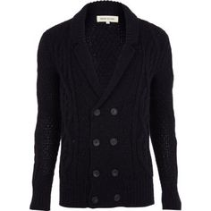 Navy double breasted cable knit cardigan in River Island.