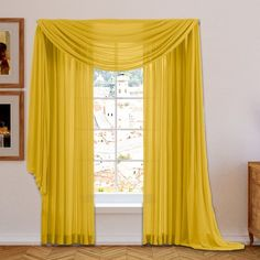 willa arlo interiors brushgrove solid sheer curtain panels color bright yellow size 54